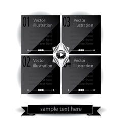 Black glossy panels presentations with numbers vector image