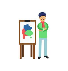 Bohemian artist in beret standing near easel vector