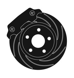 Brake disk single icon in black style for design vector
