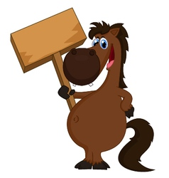 Cartoon horse holding blank sign vector