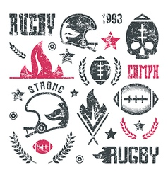College rugby team badges with shabby texture vector