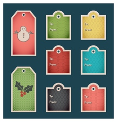 Colorful winter holiday gift tags vector