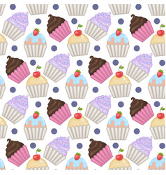 Cupcakes seamless pattern with polka dots vector