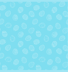 Easter eggs seamless pattern in doodle style hand vector