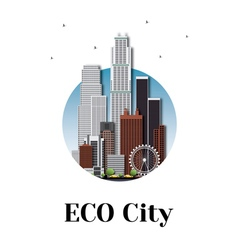 Eco city architecture skyline logo design vector