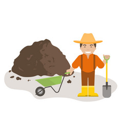 Farmer or gardener with shovel and wheelbarrow vector