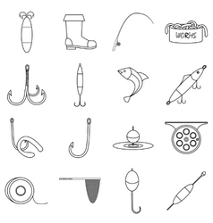 Fishing tools items icons set outline style vector