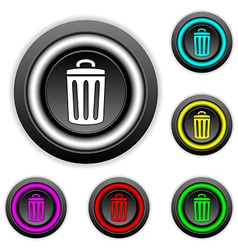 Garbage button set vector image vector image