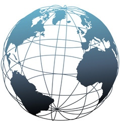 Global wireframe latitude atlantic earth globe vector