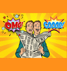 Good and bad newspaper news the reaction of men vector