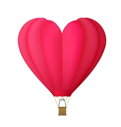 Hot air balloon in the shape of heart isolated on vector