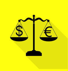 Justice scales with currency exchange sign black vector