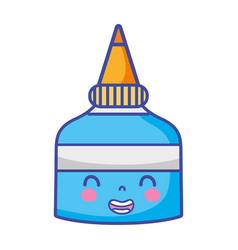 Kawaii cute smile glue bottle vector