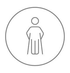 Man with crutches line icon vector