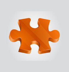 Orange piece of puzzle clean vector
