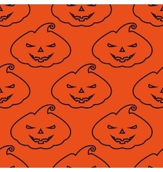 pattern silhouette scary pumpkin face on vector image vector image