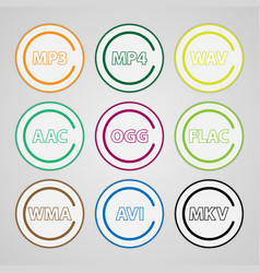 set of colored icons for popular file types vector image