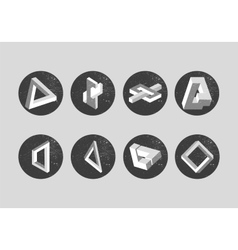 Set of impossible objects geometric shapes vector