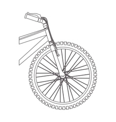 Silhouette front part bicycle in closeup vector