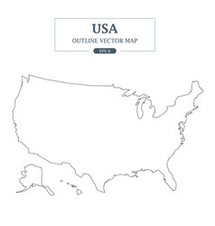 usa map outline border vector image vector image