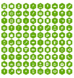 100 patisserie icons hexagon green vector
