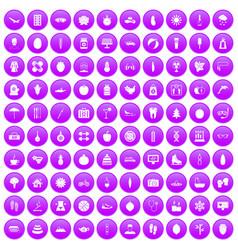 100 women health icons set purple vector