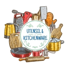 Kitchen utensils and kitchenware sketch vector