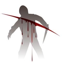 Killer silhouette against blood splashes vector