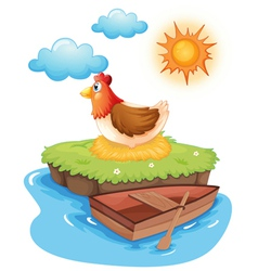A chicken hatching eggs in an island vector image