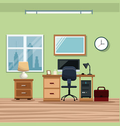 workplace desk chair computer window lamp vector image
