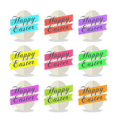 Egg with ribbon and text happy easter set vector