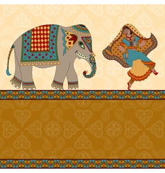 Dancing indian woman elephant and border vector
