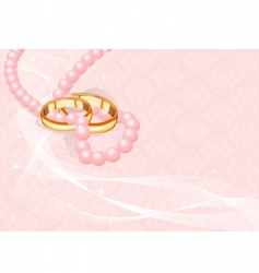 Wedding rings on pink vector