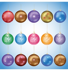 Set of glass christmas balls vector image