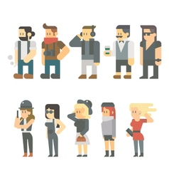 Flat design of hipster people set vector