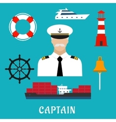 Captain profession and nautical flat icons vector
