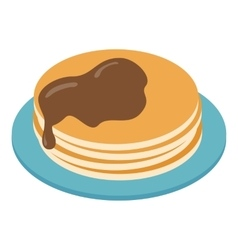Pancakes on plate isometric 3d icon vector
