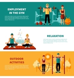 Fitness horizontal banners set vector