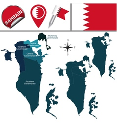 Bahrain map with named divisions vector