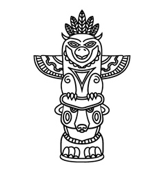 Doodle traditional tribal totem pole isolated on vector