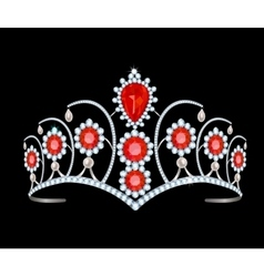 Tiara with rubies vector