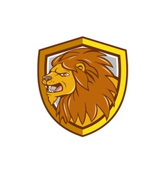 Angry lion head roar shield cartoon vector