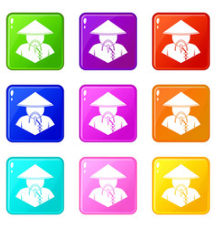Asian man in conical hat icons 9 set vector
