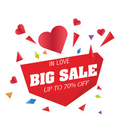 Big sale in love up to 70 off big heart im vector
