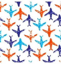 Blue orange and white flying planes grunge print vector