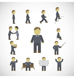 Business man activities icons set vector