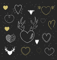 collection of hand drawn hearts vector image