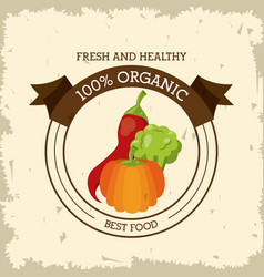colorful logo of fresh and healthy organic food vector image vector image