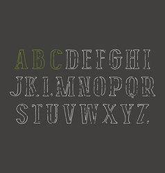 Contour serif font in the style of hand drawn vector