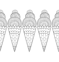 Decorative border with patterned ice cream for vector
